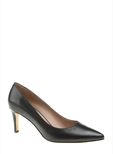 Divarese Kısa İnce Topuklu Deri Ayakkabı Siyah